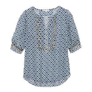 Geo print blouse with rivet stud embellishments